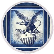 On Eagles Wings Blue Round Beach Towel