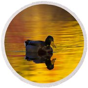 On Golden Waters Round Beach Towel