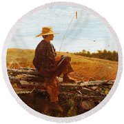 On Guard Round Beach Towel by Wisnlow Homer