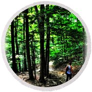 On Our Way Chasing The Eternal Flame At Chestnut Ridge Park Round Beach Towel