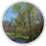 On The Banks Of Spring Round Beach Towel