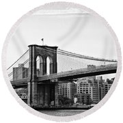 On The Brooklyn Side Round Beach Towel by Bill Cannon