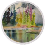 On The Colourful Pond Round Beach Towel