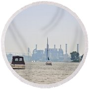 On The Delaware River Round Beach Towel
