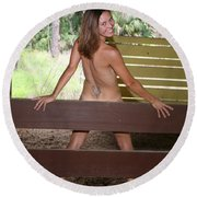 On The Fence 819 Round Beach Towel