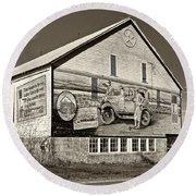 On The Lincoln Highway Sepia Round Beach Towel