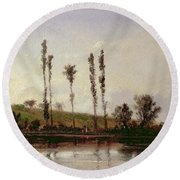 On The Outskirts Of Paris Round Beach Towel