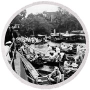 On The River Thames - Waiting For The Locks To Open - C 1902 Round Beach Towel
