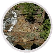 On The Rocks Glen Alpine Creek And Falls Round Beach Towel