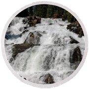 On The Rocks Glen Alpine Falls Round Beach Towel
