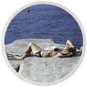 On The Rocks Round Beach Towel