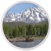 On The Snake River Round Beach Towel