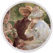 On The Terrace At Sevres Round Beach Towel