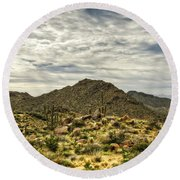 On The Top Of The Mountain  Round Beach Towel
