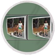 On The Trail - Gently Cross Your Eyes And Focus On The Middle Image That Appears Round Beach Towel