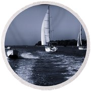 On The Water 1 - Venice Round Beach Towel