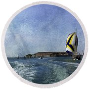 On The Water 2 - Venice Round Beach Towel