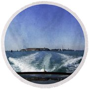 On The Water 5 - Venice Round Beach Towel
