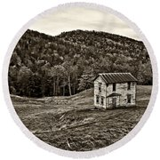 Once Upon A Mountainside Sepia Round Beach Towel
