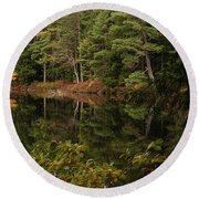Once Upon An Autumn Morn Round Beach Towel