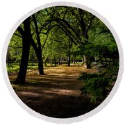 One Day In The City Park Round Beach Towel
