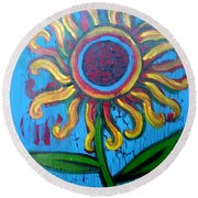 One Flower Round Beach Towel