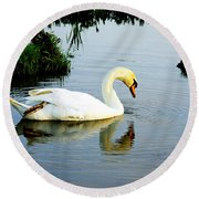 One Foot At Ease Swan Round Beach Towel