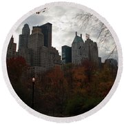 One Light On In Central Park Round Beach Towel