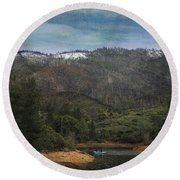 One Little Boat Round Beach Towel