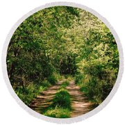 One Lonely Path Round Beach Towel