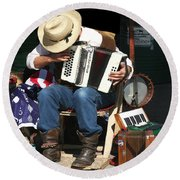 One Man Band Round Beach Towel