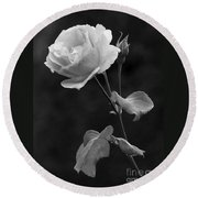 One Rose In Black And White Round Beach Towel