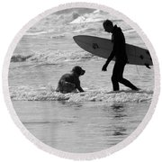 One Surfer And His Dog Round Beach Towel