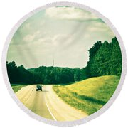 One Texas Afternoon Round Beach Towel