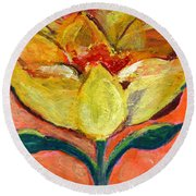 One Yellow Flower And Pinky Peach Behind Round Beach Towel