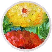 One Yellow One Red And Orange Flower Shines Round Beach Towel