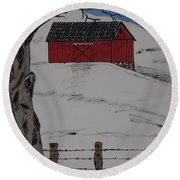 Only A Winter Day Round Beach Towel