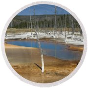 Opalescent Pool Of Yellowstone Round Beach Towel