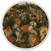 Open Air Wedding Dance Round Beach Towel by Pieter the Younger Brueghel