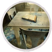 Open Book On Old Table Round Beach Towel