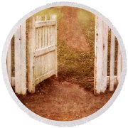 Open Gate To Cottage Round Beach Towel