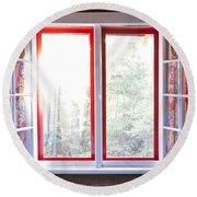 Open Window In Cottage Round Beach Towel