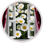 Open Windows Onto Large Daisies Round Beach Towel