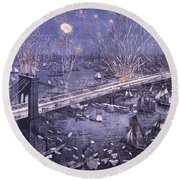 Opening Of The Great New York And Brooklyn Bridge And Grand Display Of Fire Works Round Beach Towel