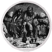 Opium Addicts, 1868 Round Beach Towel