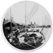 Opium Trader - Hong Kong Harbor - C 1901 Round Beach Towel