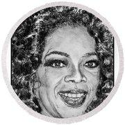 Oprah Winfrey In 2007 Round Beach Towel