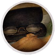 Optometrist - Glasses For Reading  Round Beach Towel by Mike Savad