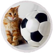 Orange And White Kitten With Soccor Ball Round Beach Towel