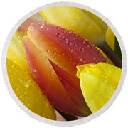 Orange And Yellow Tulips Round Beach Towel